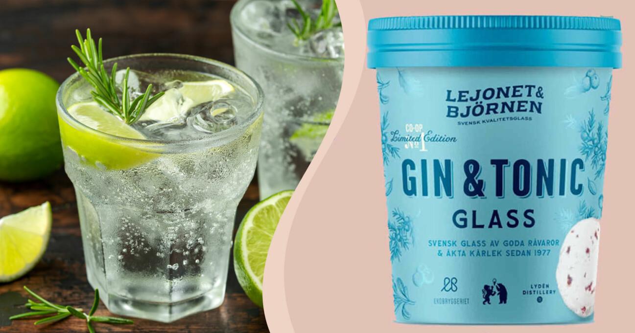 En Gin o Tonic i glas och som glass
