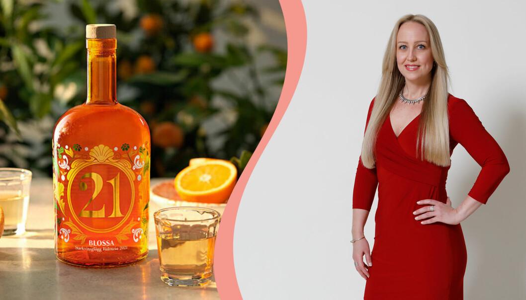 Till vänster Blossas glögg 2021 som heter Valencia med smak av apelsin och klassiska julkryddor, till höger Rosie Söderlund, redaktör på recept.se.