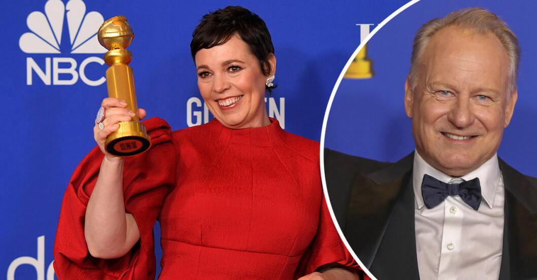Oliva Colman och Stellan Skarsgård från Golden Globe-galan 2020