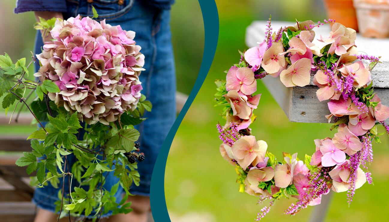 Två olika vackra arrangemang med sensommarblommor.