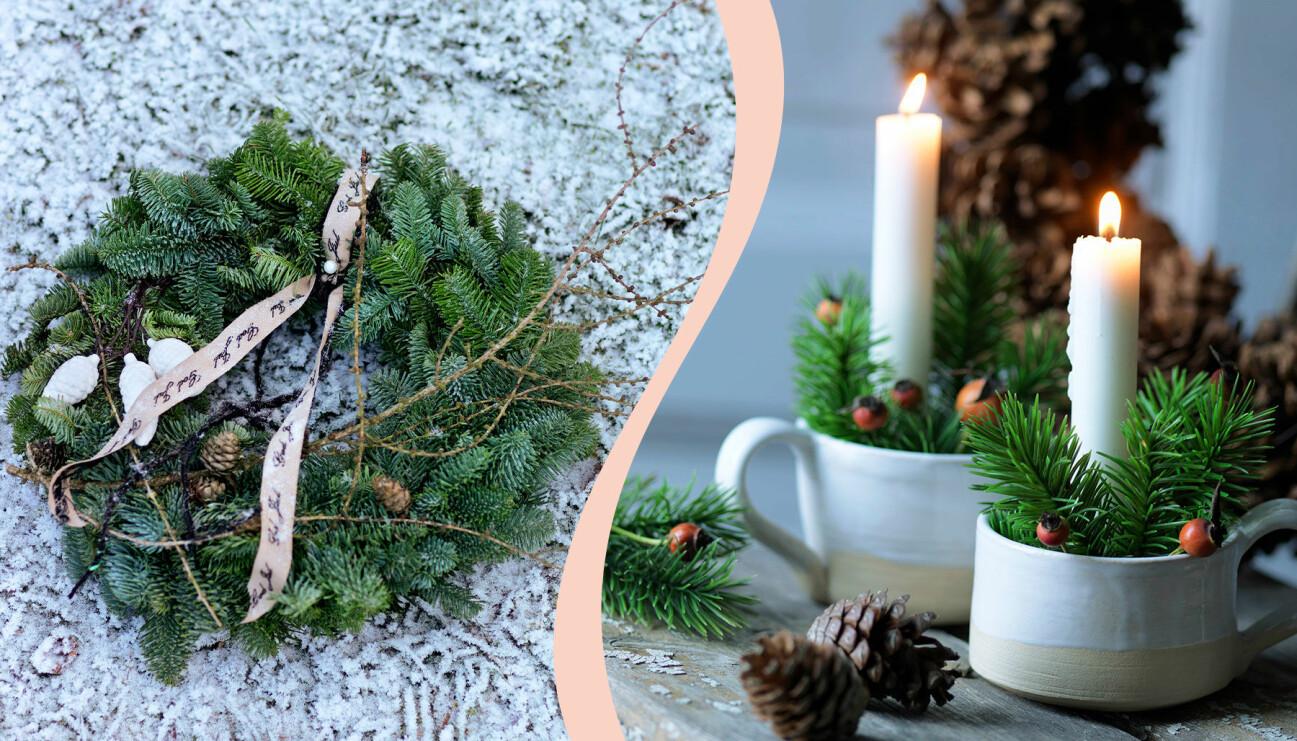 Delad bild på två olika adventspynt. Till vänster: En krans av gran. Till höger: Levande ljus med barr i koppar.