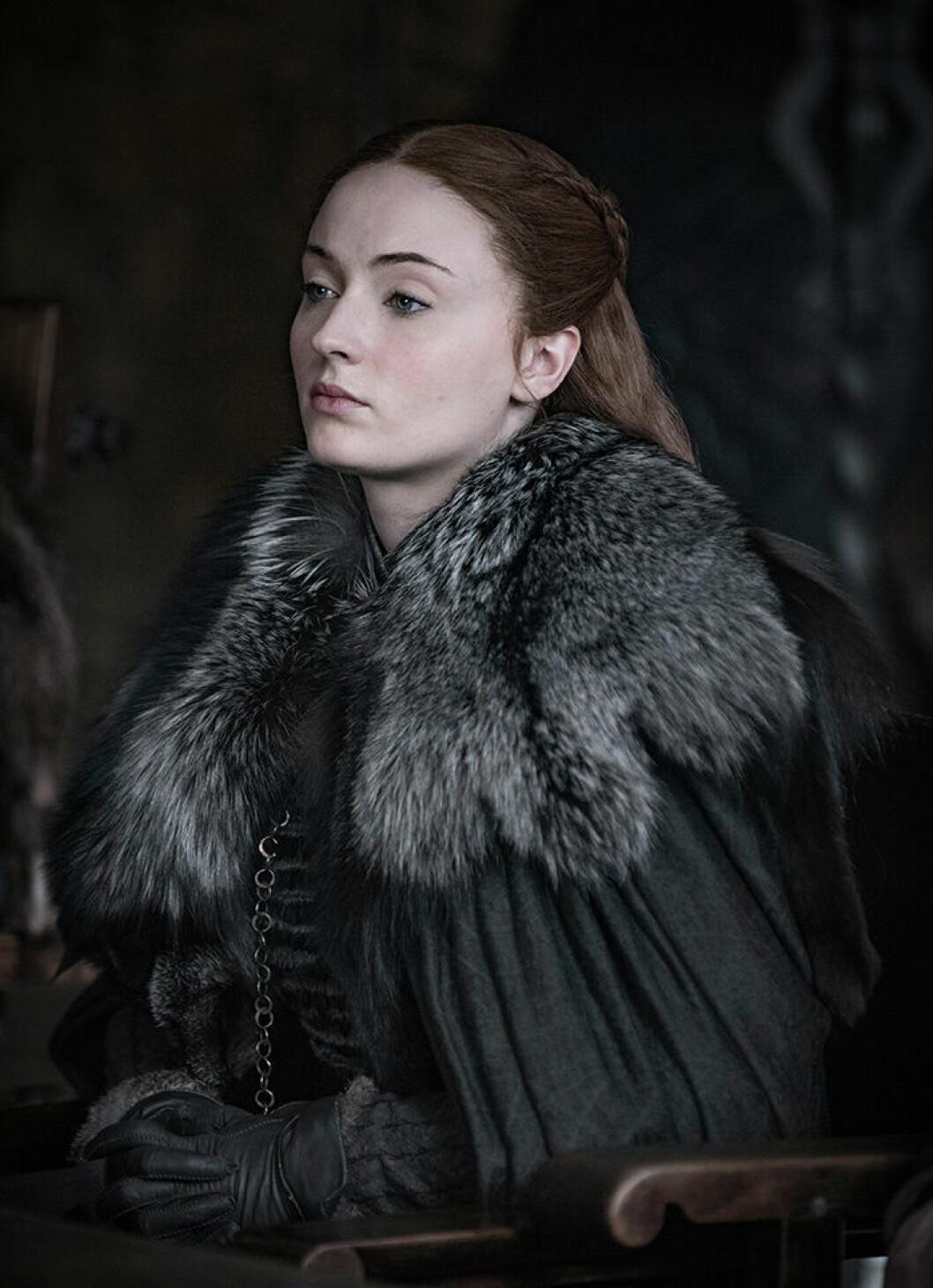 En bild på karaktären Sansa Stark från tv-serien Game of Thrones.
