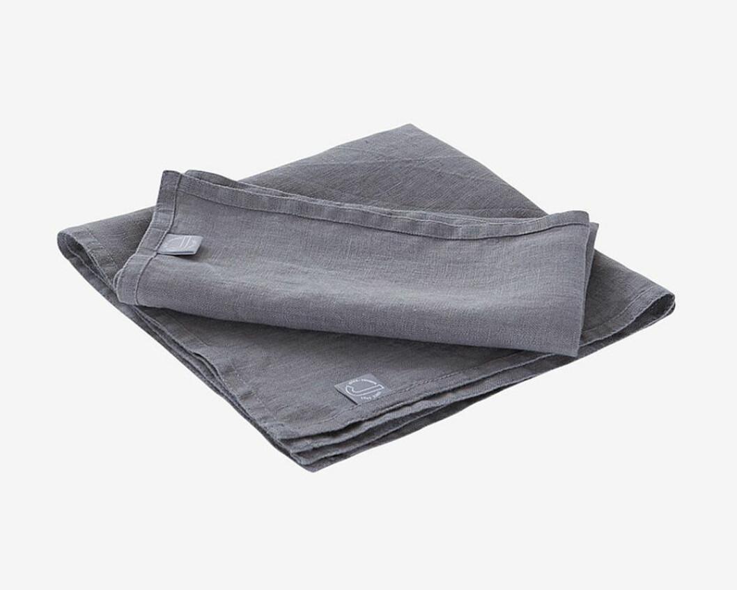 grå servetter i linne från jotex