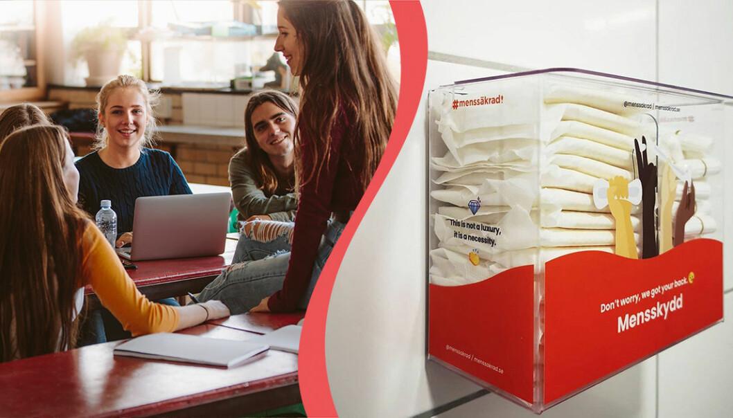 Tonåringar i grupp sitter i klassrum. Box med mensskydd från företaget menssäkrad hänger på badrumsvägg.