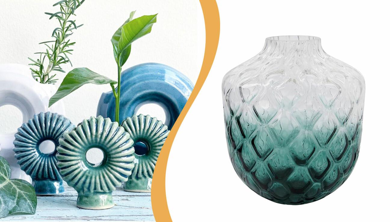 Gröna och blå vaser från Designtorget och House Doctor
