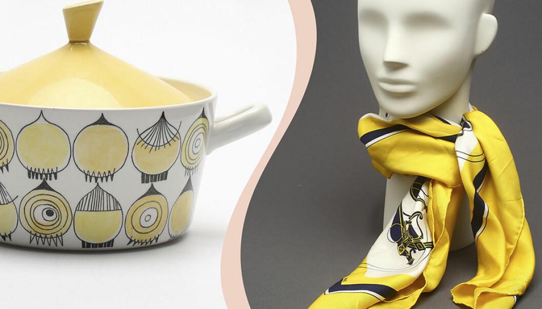 Delad bild. Till vänster en terrin i gult och vitt. Till höger en skyltdocka med en Hermès-scarf i gult, vitt och blått.