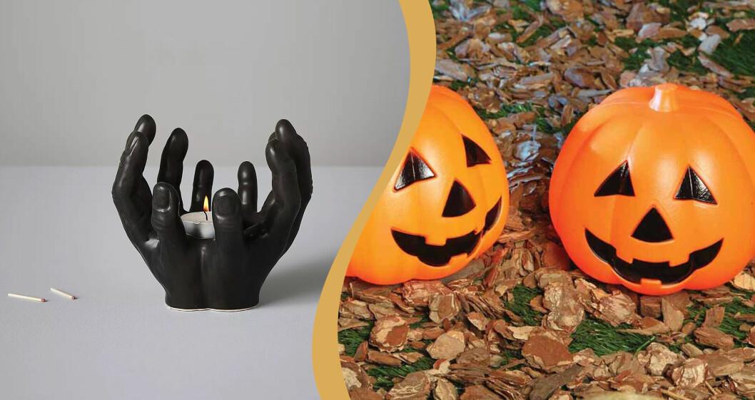 Svart ljuslykta av keramik och Halloweenpumpor