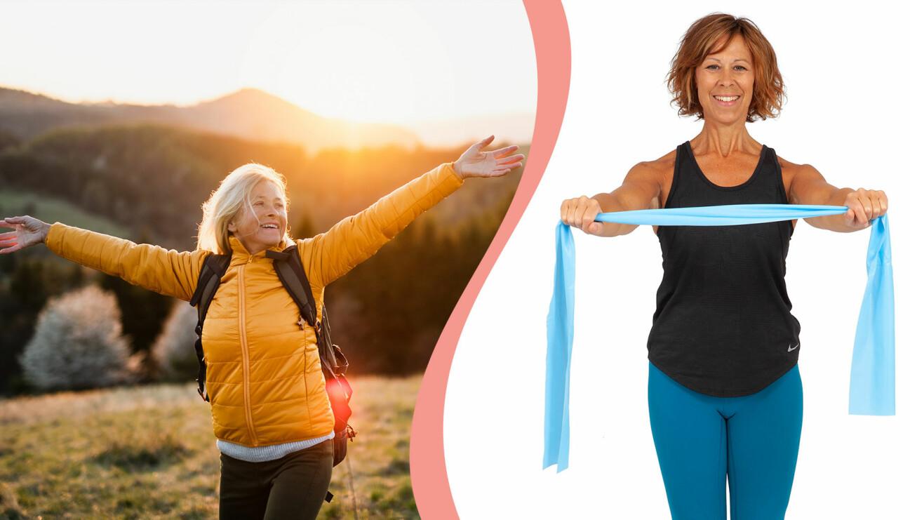 Kvinna omfamnar livet i naturen, till vänster, Sjukgymnasten Åsa Rippe gör en övning med gummiband, till höger.
