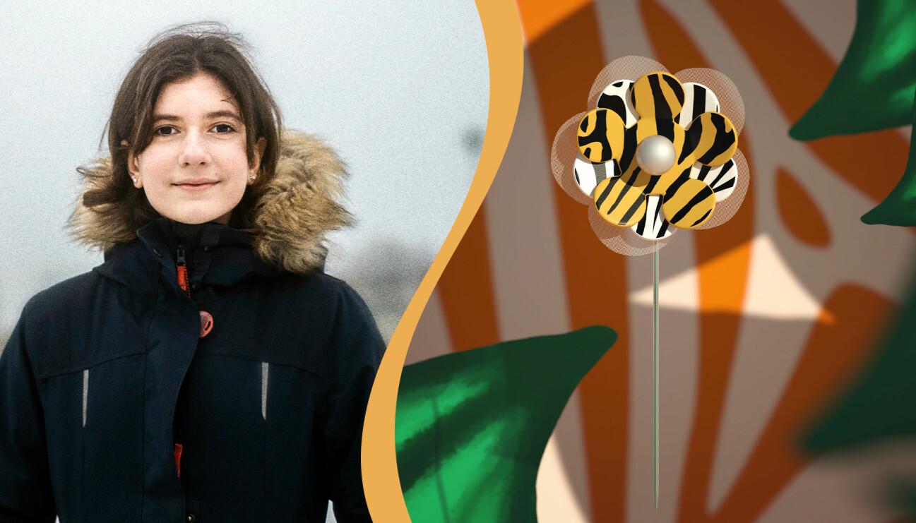 Hana Bozickovic är en av barnen som 2021 skapat den digitala majblomman.