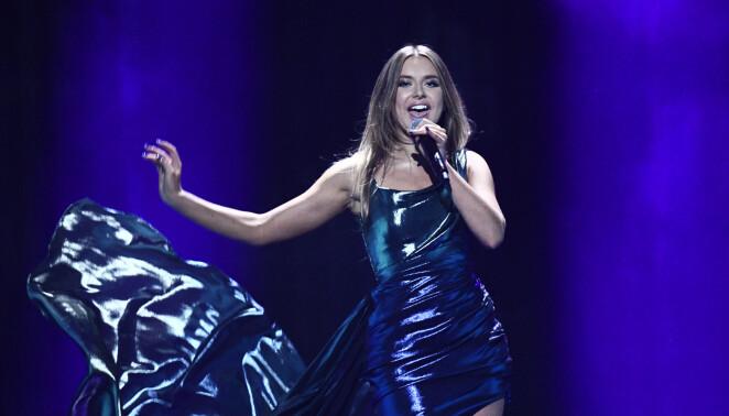 Hanna Ferm i <i>Melodifestivalen</i> 2020. Foto: TT
