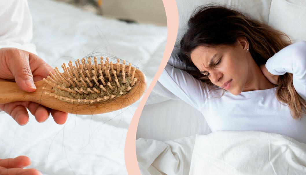 Kvinna i säng och en hårborste med bäst-före-datum