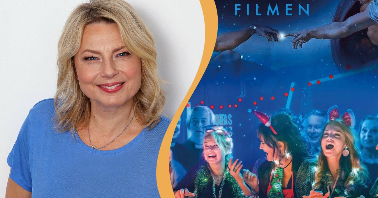 Helena Bergström leende i blå tröja och filmaffischen för filmen Bröllop, begravning och dop.