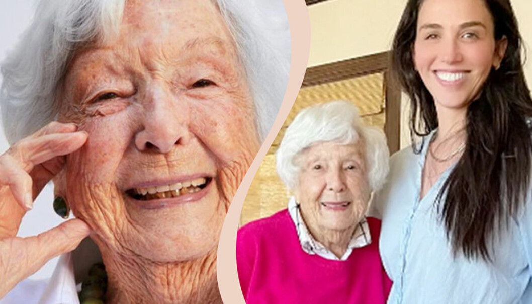 Delad bild. 99-åriga Helene Simon ler. Till höger Helene Simon tillsammans med sitt barnbarn Laney Crowell.