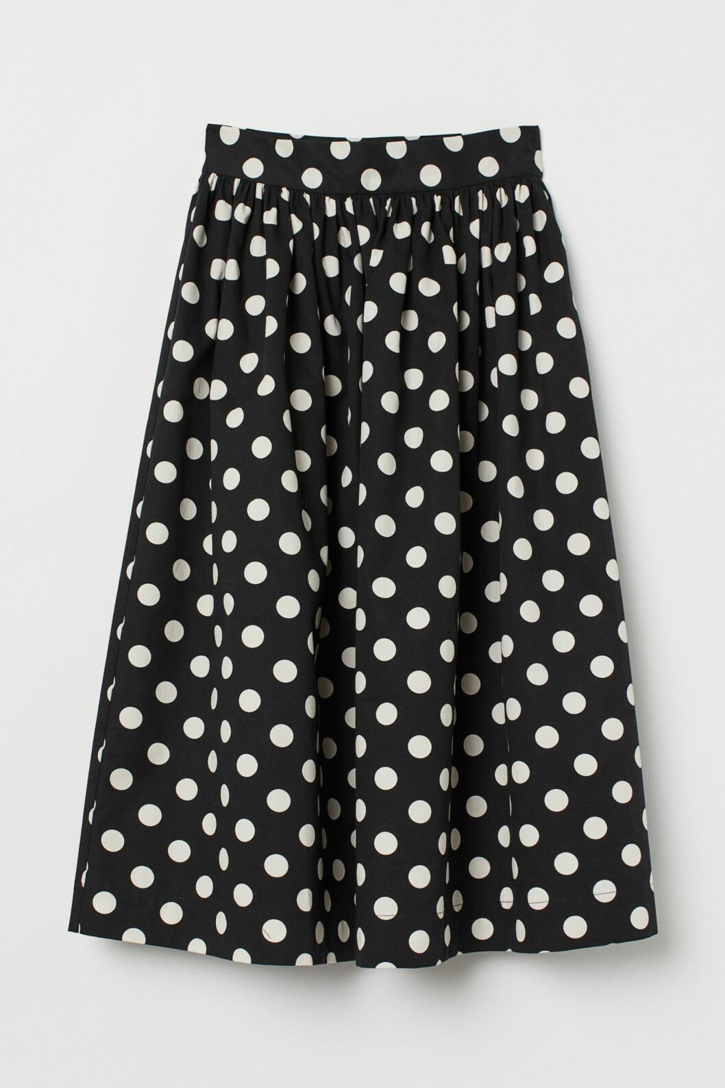 svart vit prickig kjol h&M
