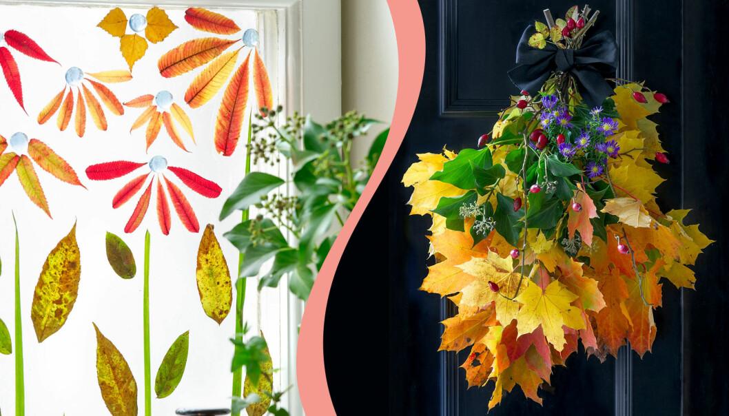 Pyssla med löv – höstens färger på löven lyfter pysslet.