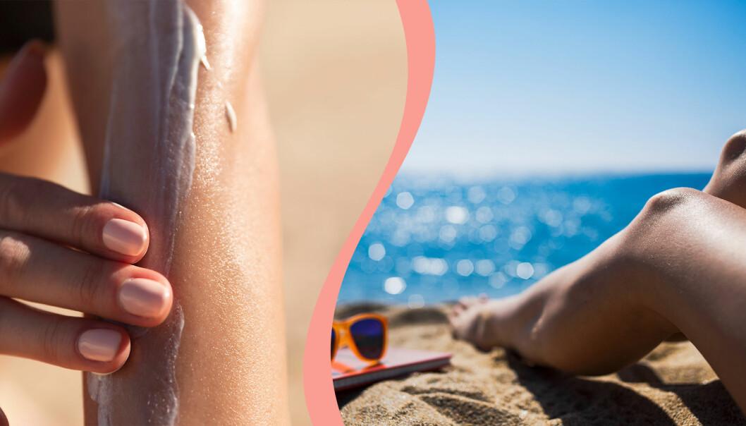 Till vänster, kvinna smörjer på solkräm på stranden, till höger, kvinna solar på stranden