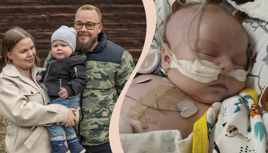 Hugo föddes med ett hjärtfel och var nära att dö strax efter födseln, här med föräldrarna Evelina och Hampus Lång i Timrå.