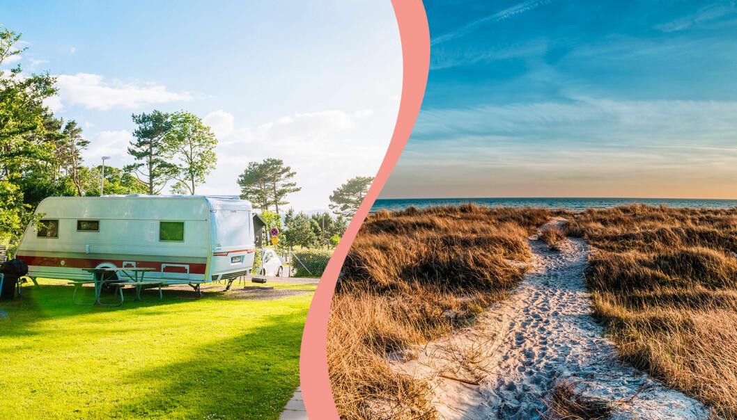 Husvagn vid camping i Borstahusen utanför Landskrona och en bild på havet och stranden Falsterbonäset.