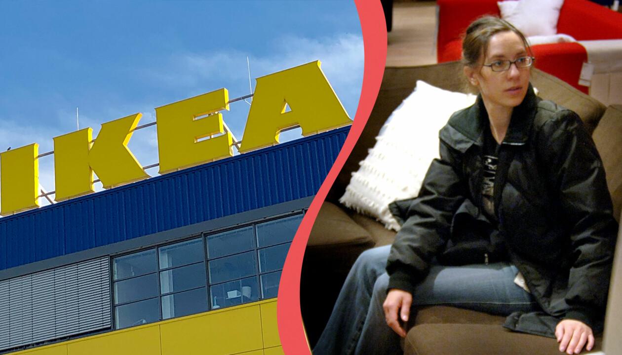 Skylt på Ikeas varuhus och en kvinna som sitter i en soffa på Ikea och tittar på textilier.