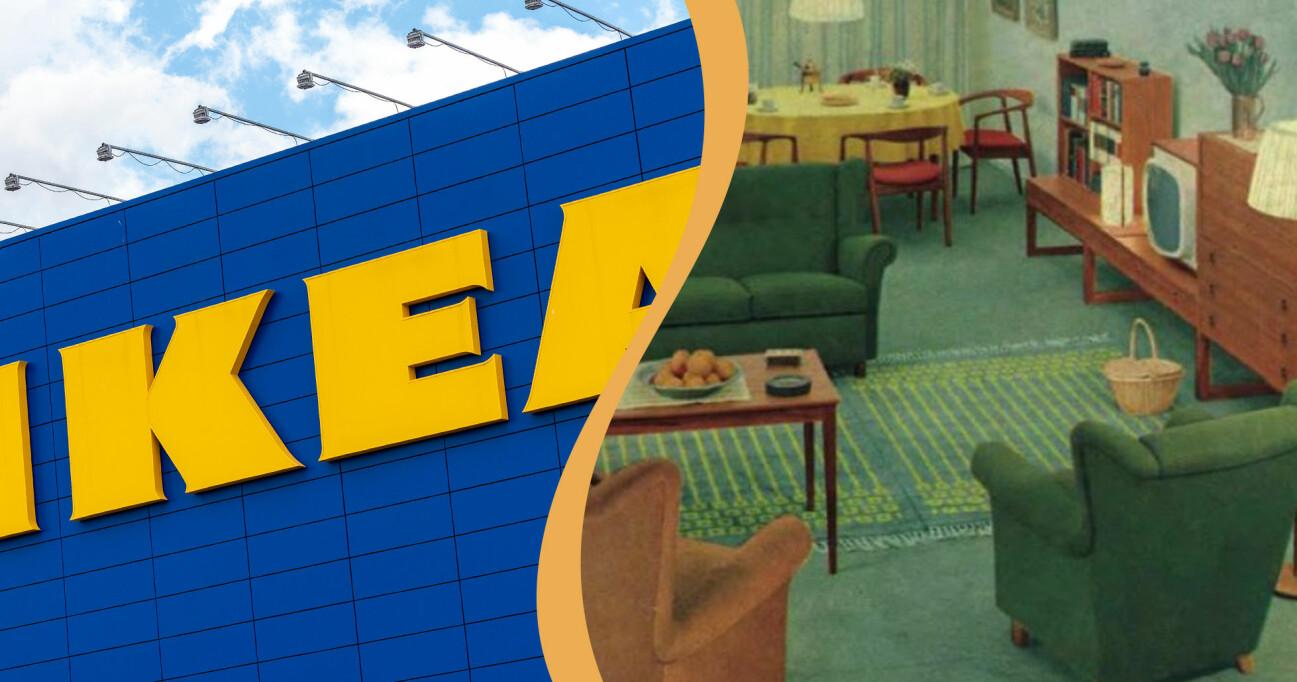 Kollage av IKEA-skylt och en sida ur Ikeakatalogen från 1961.