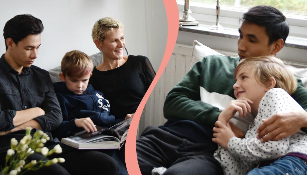 Joanna Ågren tillsammans med barnen Tim och Selma och ungdomarna Nas och Mehdi hemma i Stockholm.