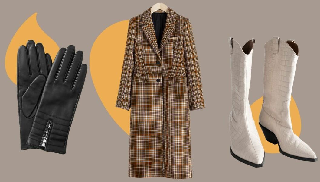 Kollage med höstkappa, stövlar och handskar