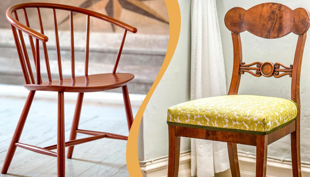 Kollage av två äldre stolar