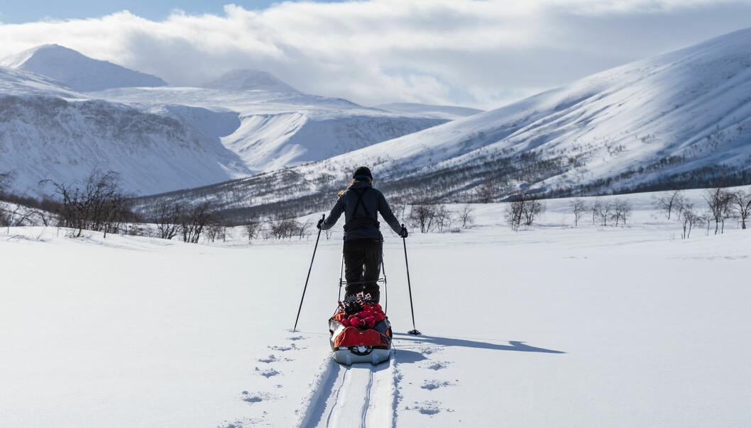 Kvinna i Sareks nationalpark, Sverige