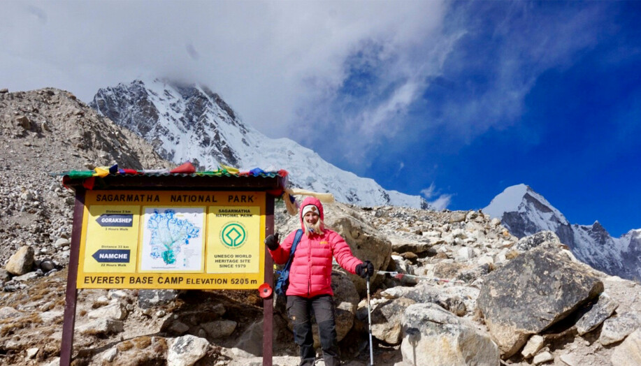 Saga vid en skylt i Himalaya.
