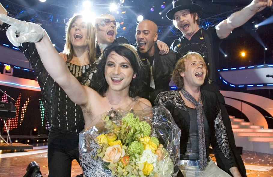The Ark när de vunnit Melodifestivalen 2007 med låten The Worrying Kind.