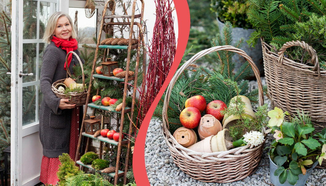 Kollage av vackra juldekorationer med material från trädgården.