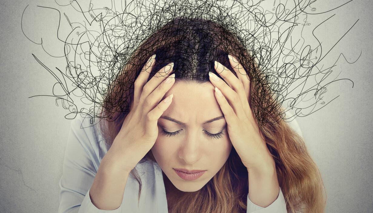 Illustration av kvinna med OCD, tvångstankar.