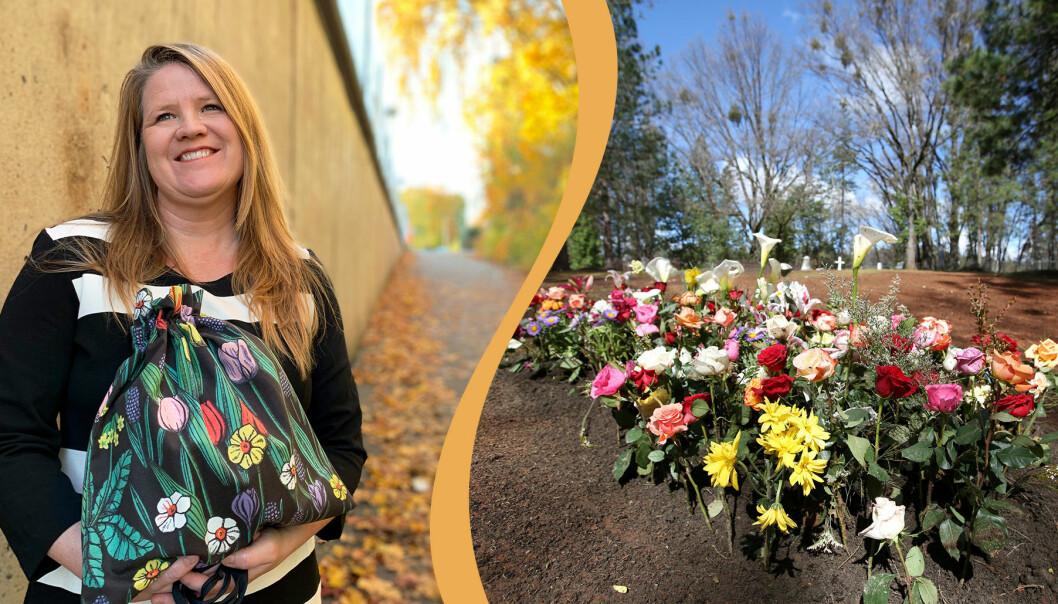 Kollage av Hanna Lundstedt och begravningsplats.
