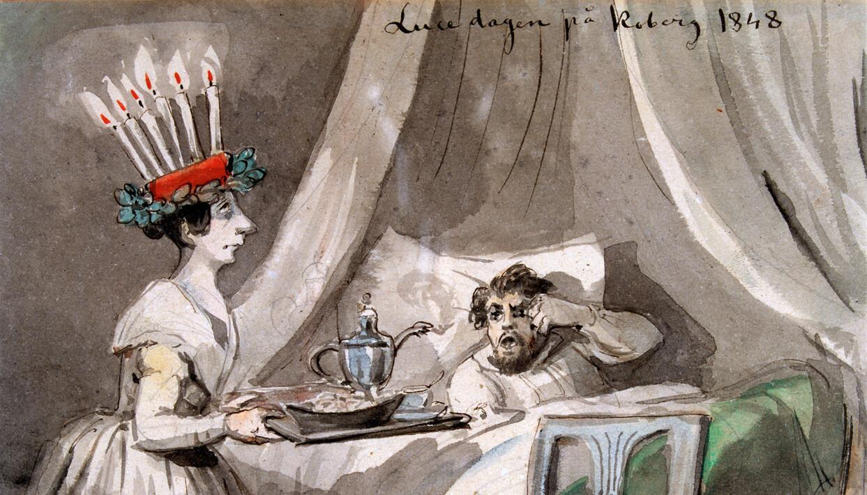 Lucedagen på Koberg 1848, tuschteckning av Fritz von Dardel.