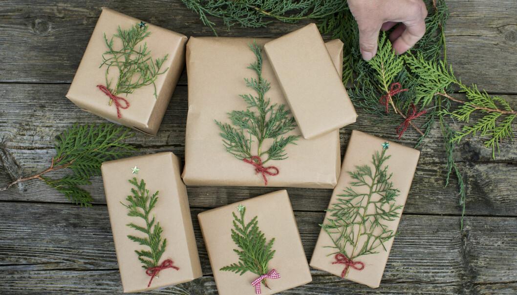 Julklappar dekorerade med granris.