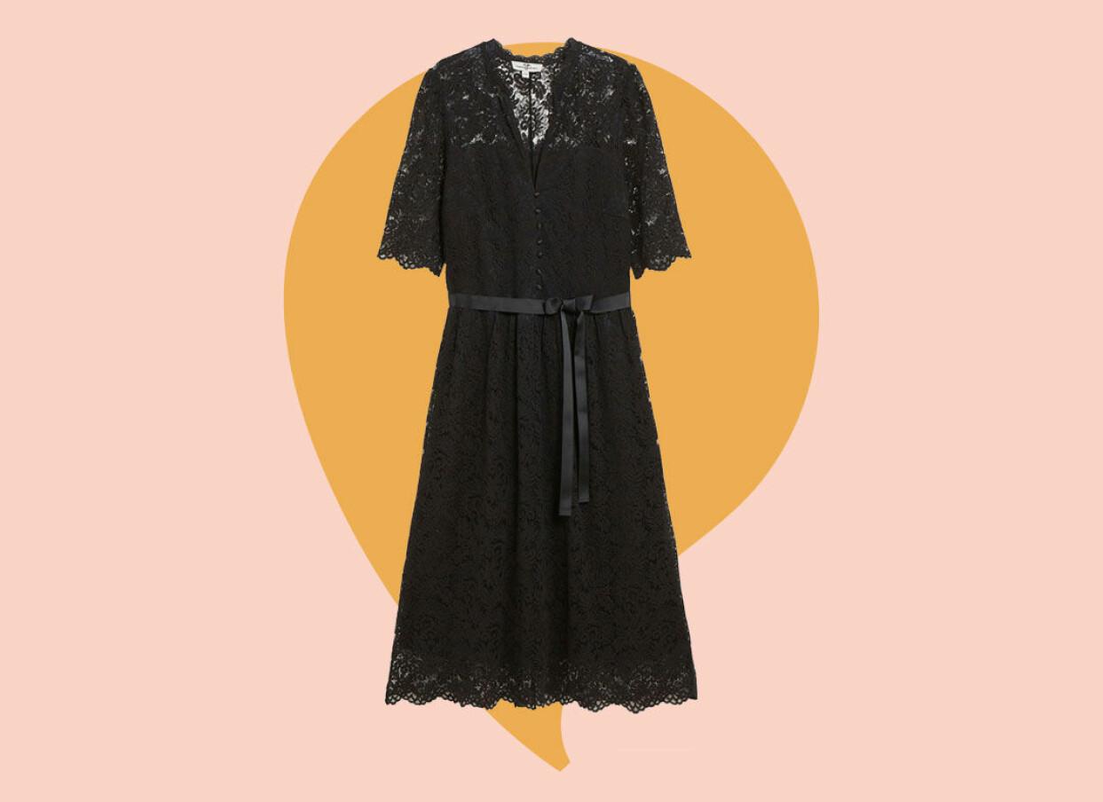 Svart spetsklänning från Kappahl.