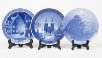 Jultallrikar från 20- och 30-talet tillverkade av Royal Copenhagen samt Bing & Grondahl.