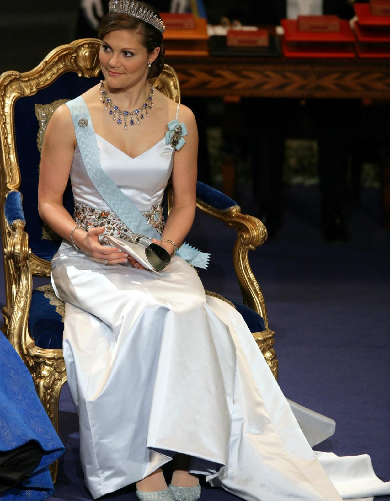 Kronprinsessan Victoria under Nobelprisets utdelning i Stockholm 2005.