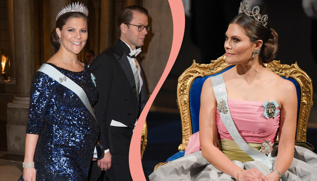 Kollage av kronprinsessan Victoria i Nobelstass.