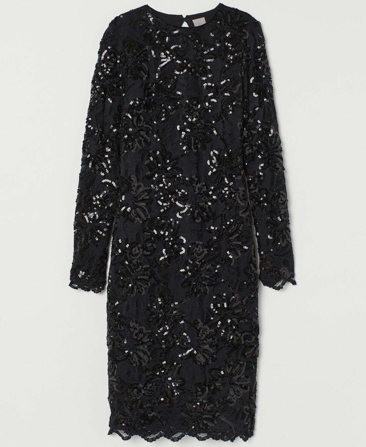 Svart paljettklänning med lång ärm, från H&M