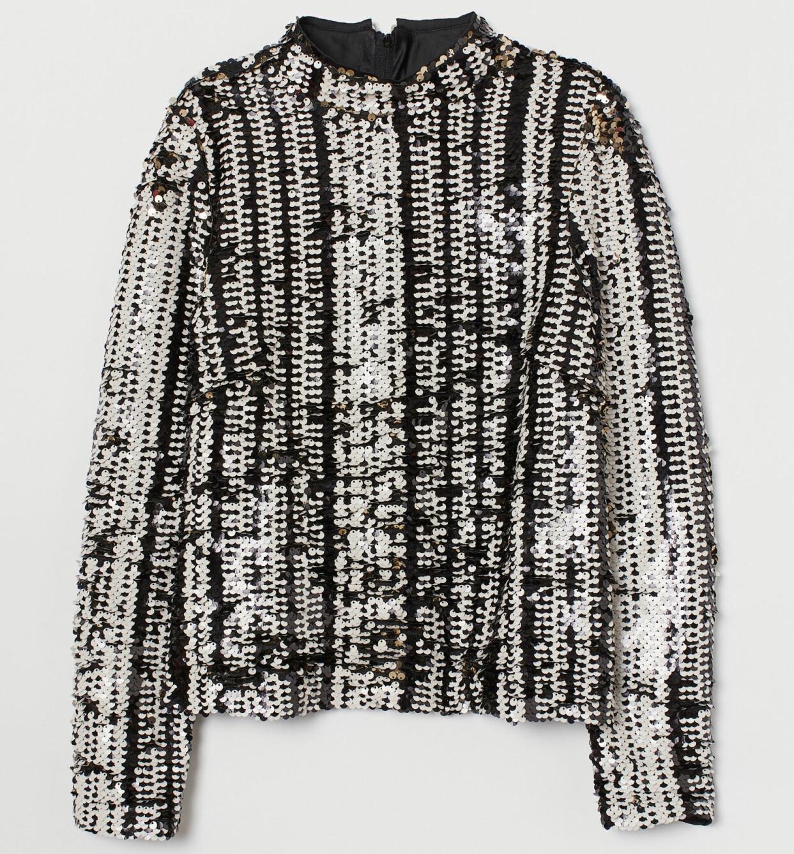 Paljettopp med ståkrage och lång ärm, från H&M