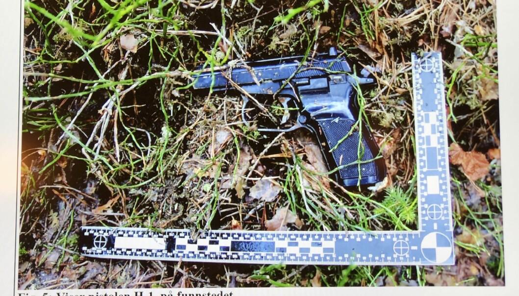 Pistolen, en Makarov, hittades först i maj året därpå. Foto: Polisen/TT