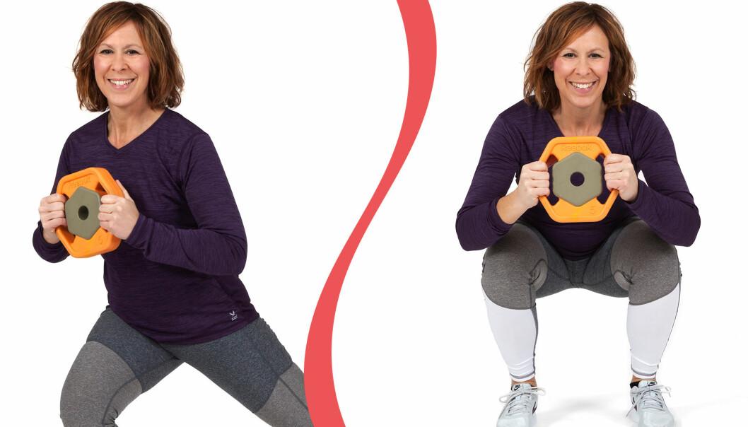 Åsa Rippe visar två övningar för dig som vill träna benen hemma.