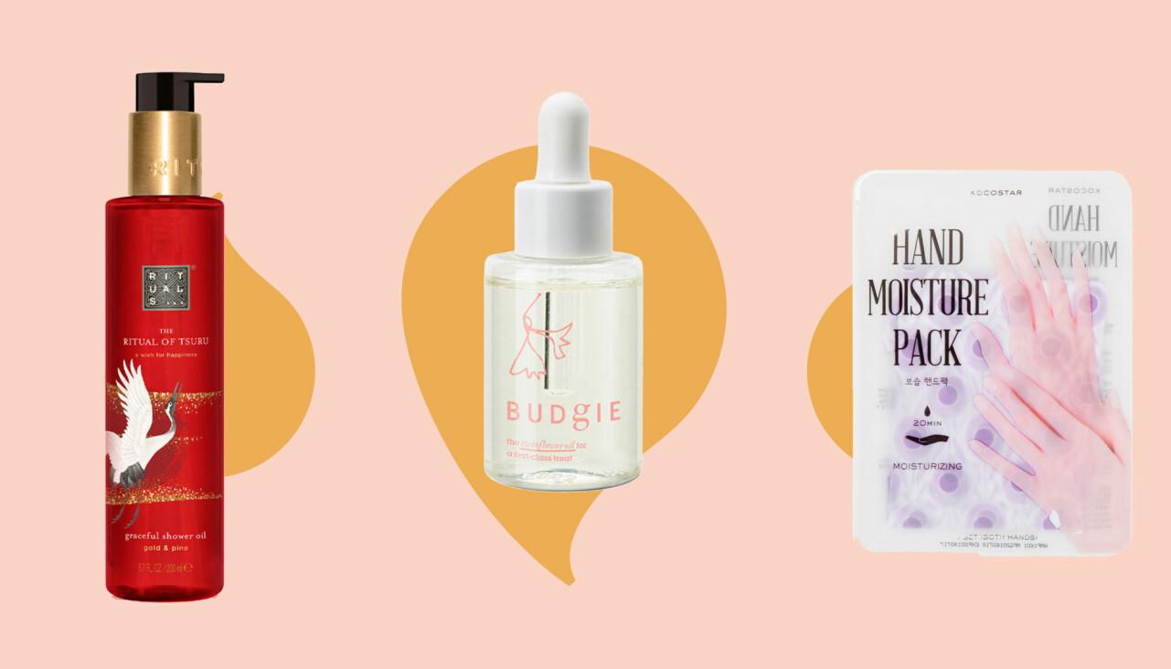 Kollage av vårdande produkter för torr hud, hår och händer.