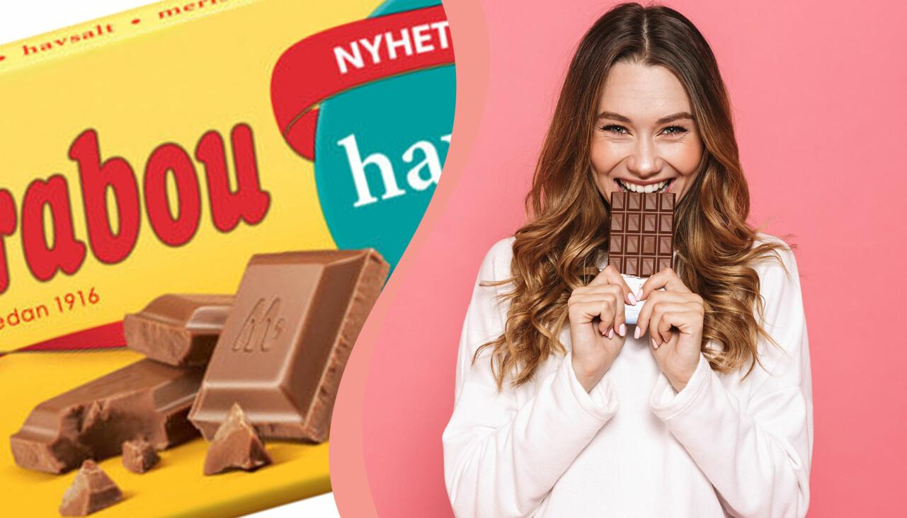 Kollage av Marabous nya smak 2020 och kvinna som äter choklad
