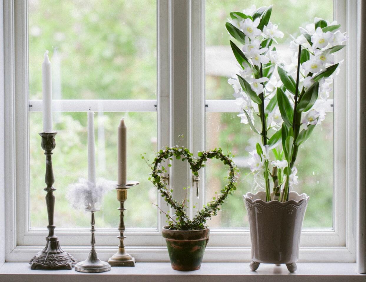 Vit orkidé i fönsterkarm tillsammans med ljus och slingeranka på båge.