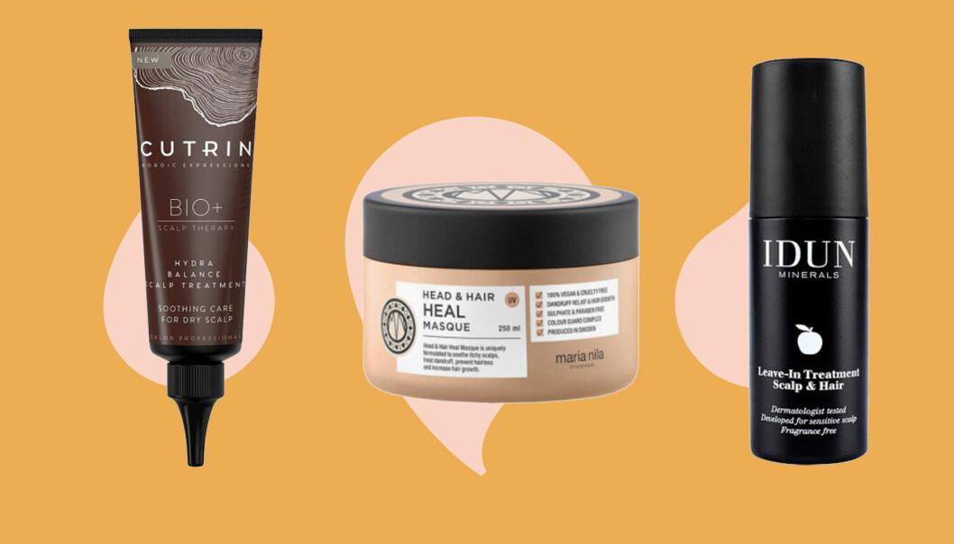 Kollage av produkter som hjälper mot torr hårbotten.
