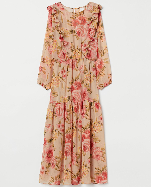 Blommig maxiklänning med volangdetalj, H&M