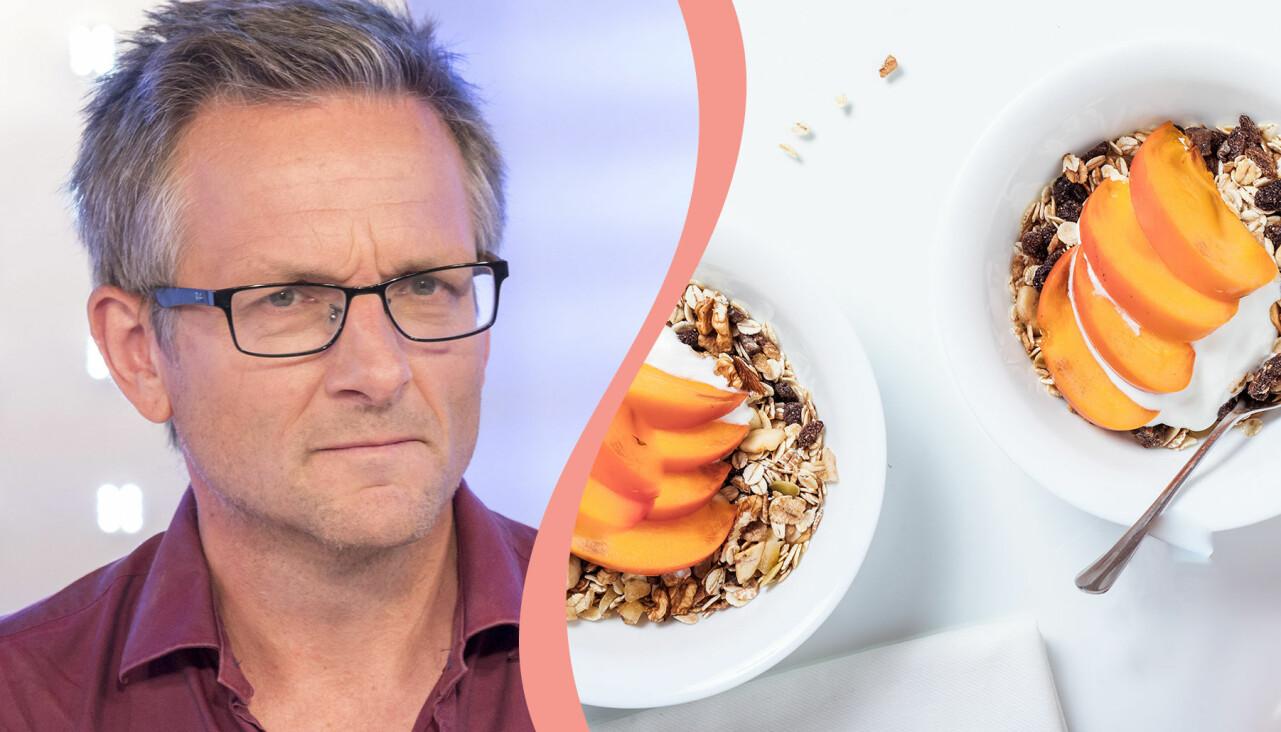 Kollage av skålar med bär och yoghurt och Dr Michael Mosley.