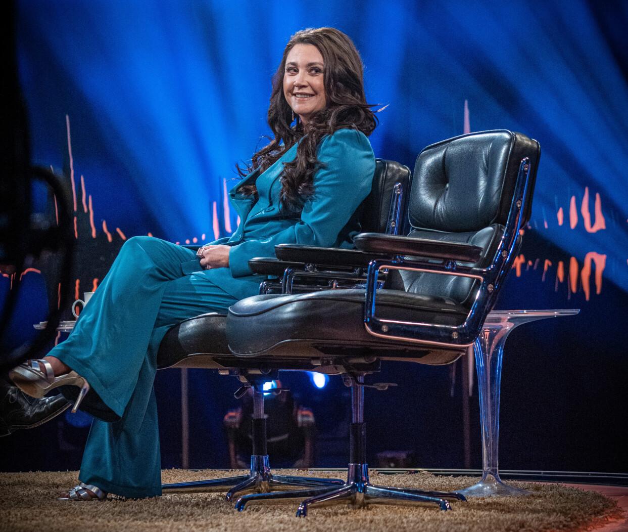 Camilla Läckberg gästar Skavlan i SVT i februari 2020.
